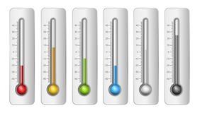 Thermometers in vector. Different Colors Thermometers with Celsius Scale. Vector Illustration Royalty Free Stock Photo