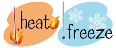 Thermometers voor hitte en bevroren vector illustratie