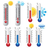 Thermometers with weather icons. Royalty Free Stock Images