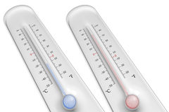 Thermometers on white background. Two thermometers on white background with high and low temperature Stock Photos