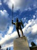 THERMOPYLAE,希腊- 2017年12月:在纪念品对300 spartans, Thermopylae, Pthiotis,希腊的利奥尼达斯雕象 免版税库存图片