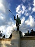 THERMOPYLAE,希腊- 2017年12月:在纪念品对300 spartans, Thermopylae, Pthiotis,希腊的利奥尼达斯雕象 库存图片