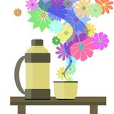 Thermos и чай Стоковое Изображение