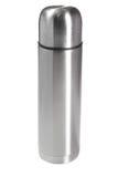 Thermos. Silver thermos on white ground Royalty Free Stock Photo