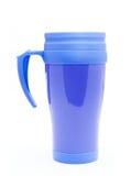 Thermos azul para la taza de café Imagen de archivo libre de regalías