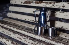 Thermos is on the bench Stock Image