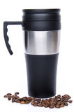 A thermos with coffee beans Royalty Free Stock Photos