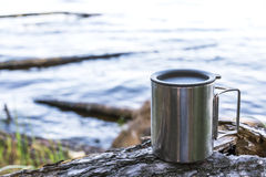 Thermos cup of coffee Stock Photo