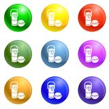 Thermos drink burger lunch icons set vector vector illustration