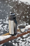 Thermos with hot tea Royalty Free Stock Images