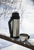 Thermos with hot tea Royalty Free Stock Photography