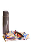 Thermos, maps and sun glasses Royalty Free Stock Photos