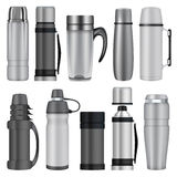 Thermos mockup set, realistic style Stock Photography