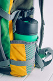 Thermos mug in the backpack side pocket Royalty Free Stock Image