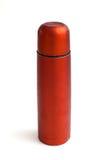 Thermos rojo usado Fotografía de archivo