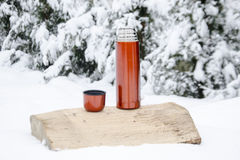 Thermos in the snow Royalty Free Stock Photos