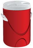 Thermos for soup. Cylindrical thermos of soup made of plastic. Vector illustration Stock Photo