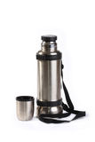 The thermos from stainless steel. Is very reliable and convenient in marching conditions Royalty Free Stock Image