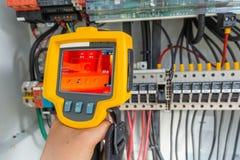 Thermoscanthermal图象照相机,为检查机器的内部温度使用的工业设备预防措施 库存图片