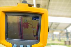 Thermoscanthermal image camera, Scan to the Junction box of so. Lar panel for temp check Royalty Free Stock Images
