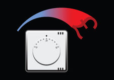 Thermostat. Room thermostat showing energy cost Vector Illustration