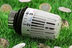 Thermostat. Radiator thermostat with euro coins on grass meadow Stock Photography