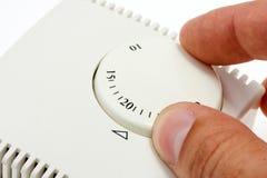 Thermostat de pièce de configuration de main Images stock