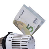 Thermostat with 5 euro. Stock Image