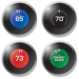 Thermostat. Illustration of a digital thermostat in four different functioning displays Royalty Free Stock Images