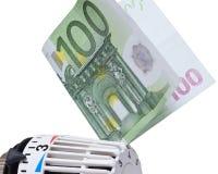 Thermostat mit Euro 100 Stockfoto