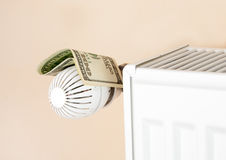 Thermostat with money Royalty Free Stock Photo