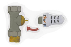 Thermostatic valve with thermostatic head for the heating system vector. House heating. Stock Photo