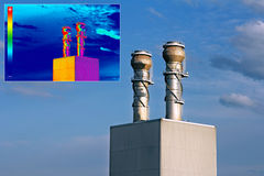 Thermovision image heating chimney Stock Photography
