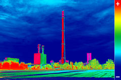 Thermovision image heating plant chimney Royalty Free Stock Photo