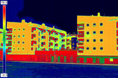 Thermovision wizerunek na budynku mieszkalnym Zdjęcie Royalty Free