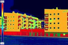 Thermovisionbeeld bij de woningbouw Royalty-vrije Stock Foto