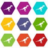 Theropod dinosaur icon set color hexahedron Stock Photos