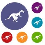 Theropod dinosaur icons set Stock Images