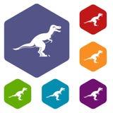 Theropod dinosaur icons set hexagon Stock Photos