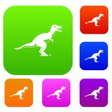 Theropod dinosaur set color collection Stock Images