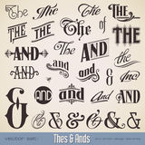 Thes and Ands. Ornate thes & ands - perfect for headlines, signs or similar graphic projects Stock Images