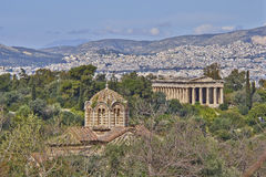 Theseion temple and holy Apostles church Stock Photography