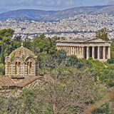 Theseion temple and holy Apostles church, Athens Stock Photography