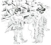 Theseus and Ariadne against labyrinth. Theseus and Ariadne against Minotaur labyrinth Stock Photo