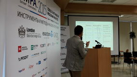 Thesis of Bertrand Meyer at the TMPA conference. St. Petersburg, Russia - November 13, 2015: Creator of Eiffel programming language Bertrand Meyer at the