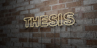 THESIS - Glowing Neon Sign on stonework wall - 3D rendered royalty free stock illustration Royalty Free Stock Photography
