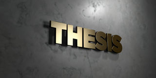 Thesis - Gold sign mounted on glossy marble wall  - 3D rendered royalty free stock illustration Royalty Free Stock Photo