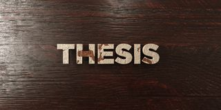 Thesis - grungy wooden headline on Maple  - 3D rendered royalty free stock image Royalty Free Stock Images