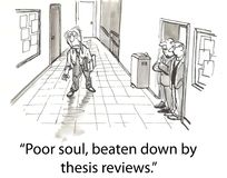 Thesis review. Tired professor walking down hallway Royalty Free Stock Photography