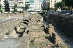 Thessalonica Agora. This is a historic marketplace in Thessalonica that would have been visited by the Apostle Paul, Silas, Lydia and early Christians from Acts stock image